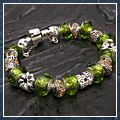 Lovely Silver Chain Green Crystal Charm Bracelet HK-S01216