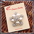 Pearl Colored Bead Rhinestone Brooch Pin White HK-S01802
