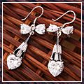 Silver Beautiful Water Drop Zircon Design Dangle Earrings White 925 S01762