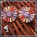 Sterling Silver Beautiful Sunflower Stud Earring Colorful 925 HK-S01773