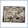 Motorcycle Decal with Pirate Combination Logo Black 3pcs M-size Q01425